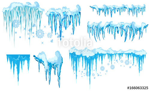 500x305 Vector Icicle And Snow Elements Clipart. Different Snow Cap Stock