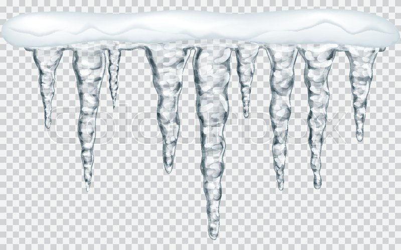799x499 Hanging Translucent Icicles With Snow In Gray Colors On
