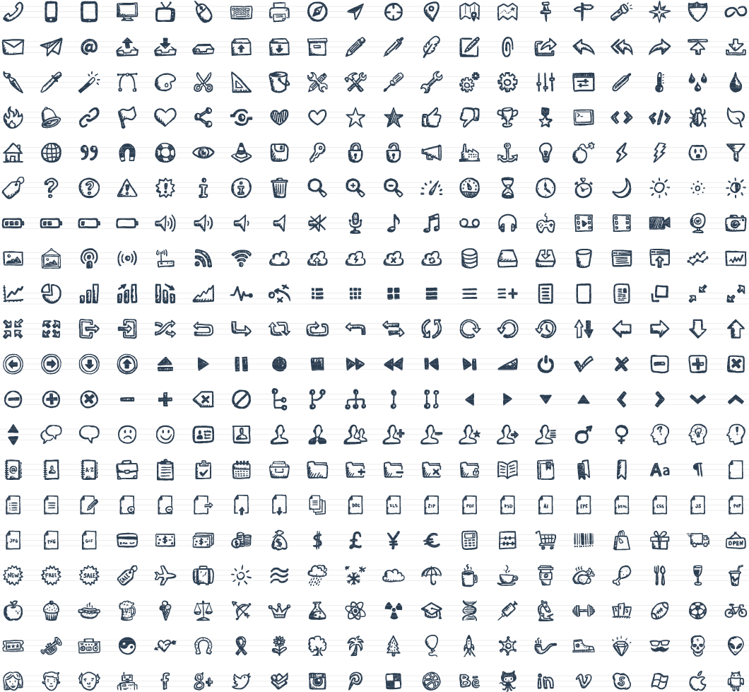 1060x979 Jolly Icons 400 Hand Drawn Vector Icons