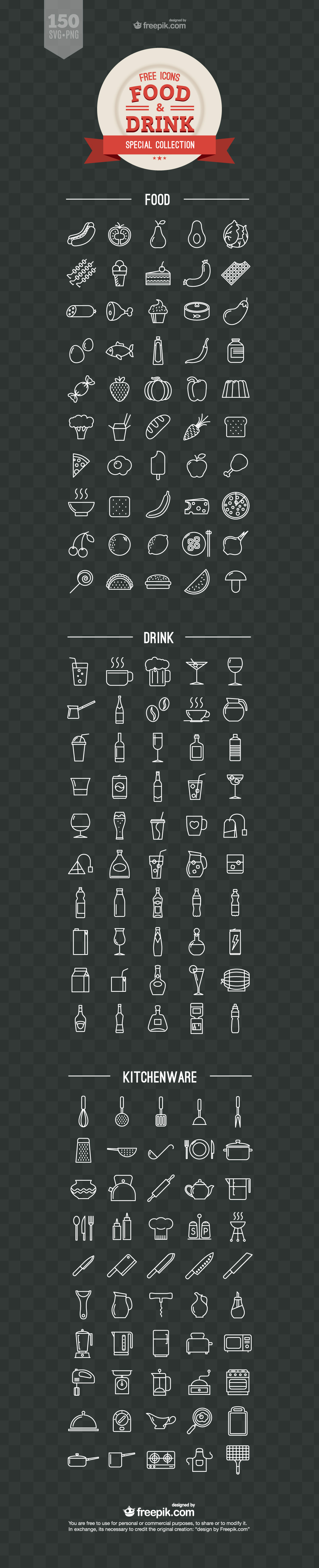1100x5397 Food And Drink Icons Vector Free Download