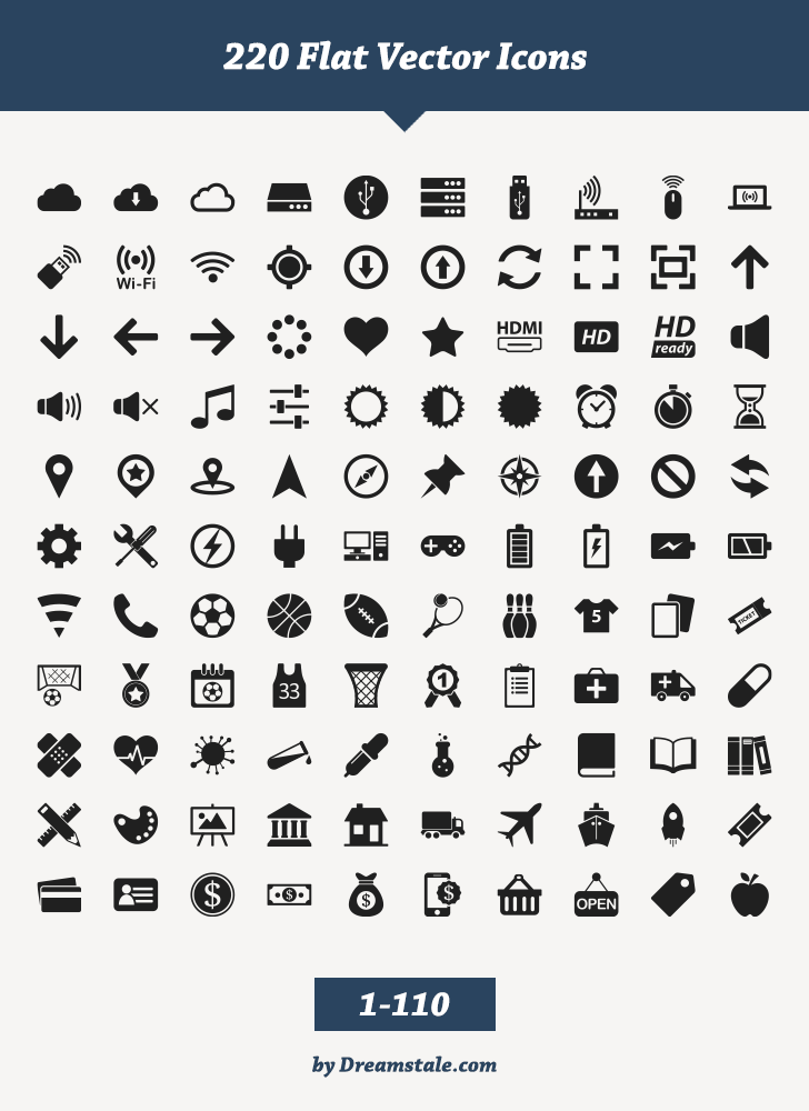 728x1000 Free Download 220 Flat Vector Icons