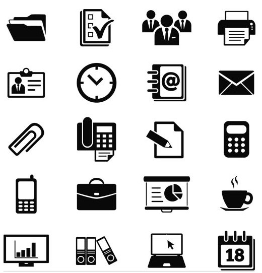 520x542 Silhouette Office Icons 2 Business Vector Free Download