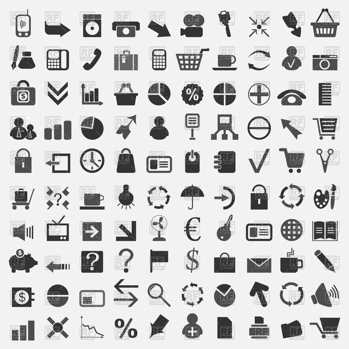 1200x1200 Collection Of Office Theme Icons Vector Image Vector Artwork Of