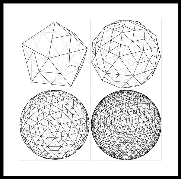 600x595 From Icosahedron To The Ball Sphere Lines Vector Framed Print By