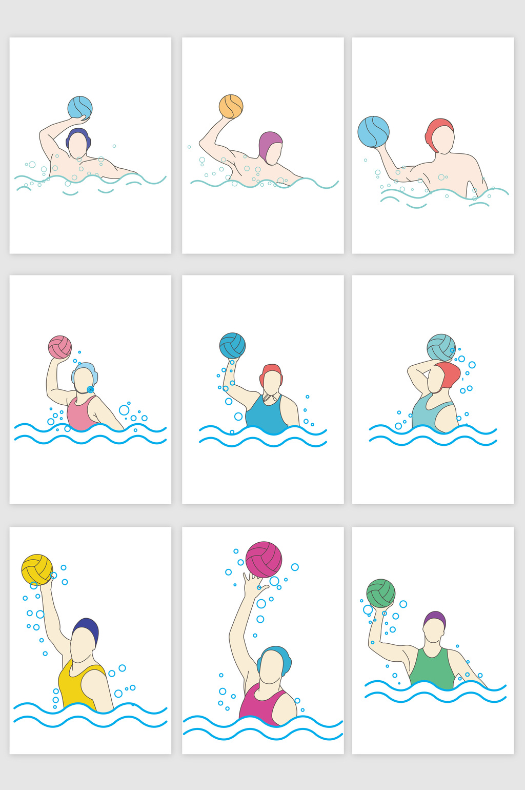 1024x1540 Volleyball Swimming Game Illustrator Vector Graphic Free Download