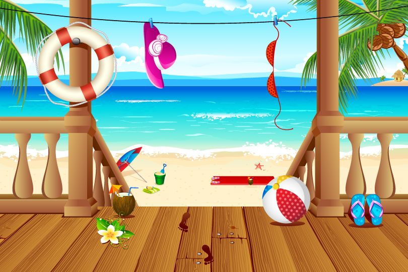810x540 Beach Holiday Illustrator Vector Free Vector Graphic Download