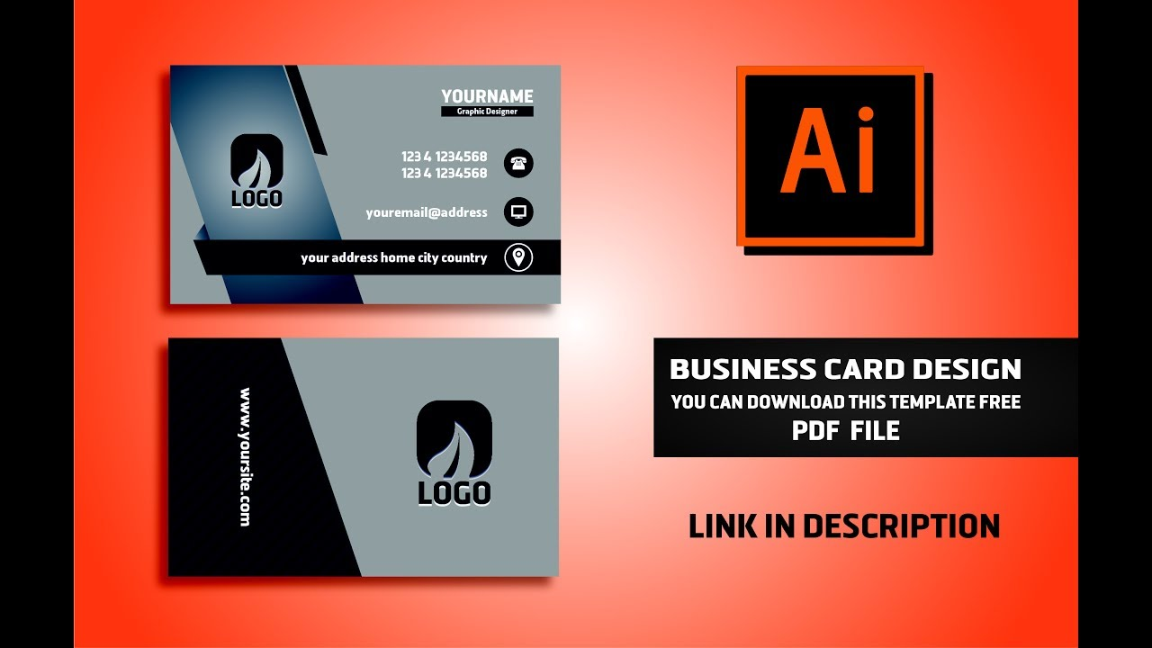 1280x720 Business Card Design Vector File Free Download Illustrator Cc