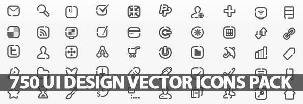 595x206 750 Ui Design Vector Icons Pack Icons Graphic Design Junction