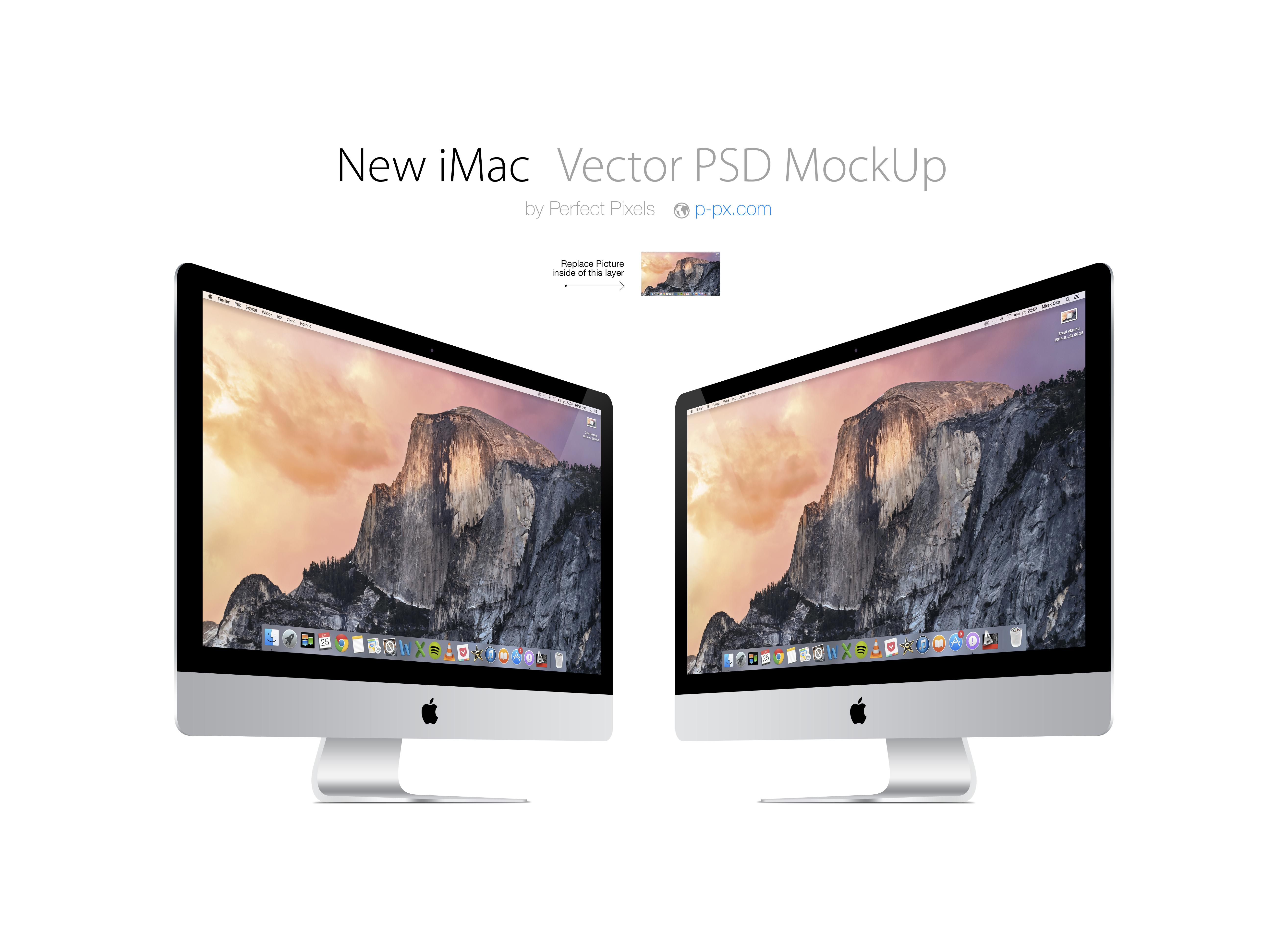 5258x3862 New Imac 34 Views Vector Psd Mockup. Perfect Pixels. Psd