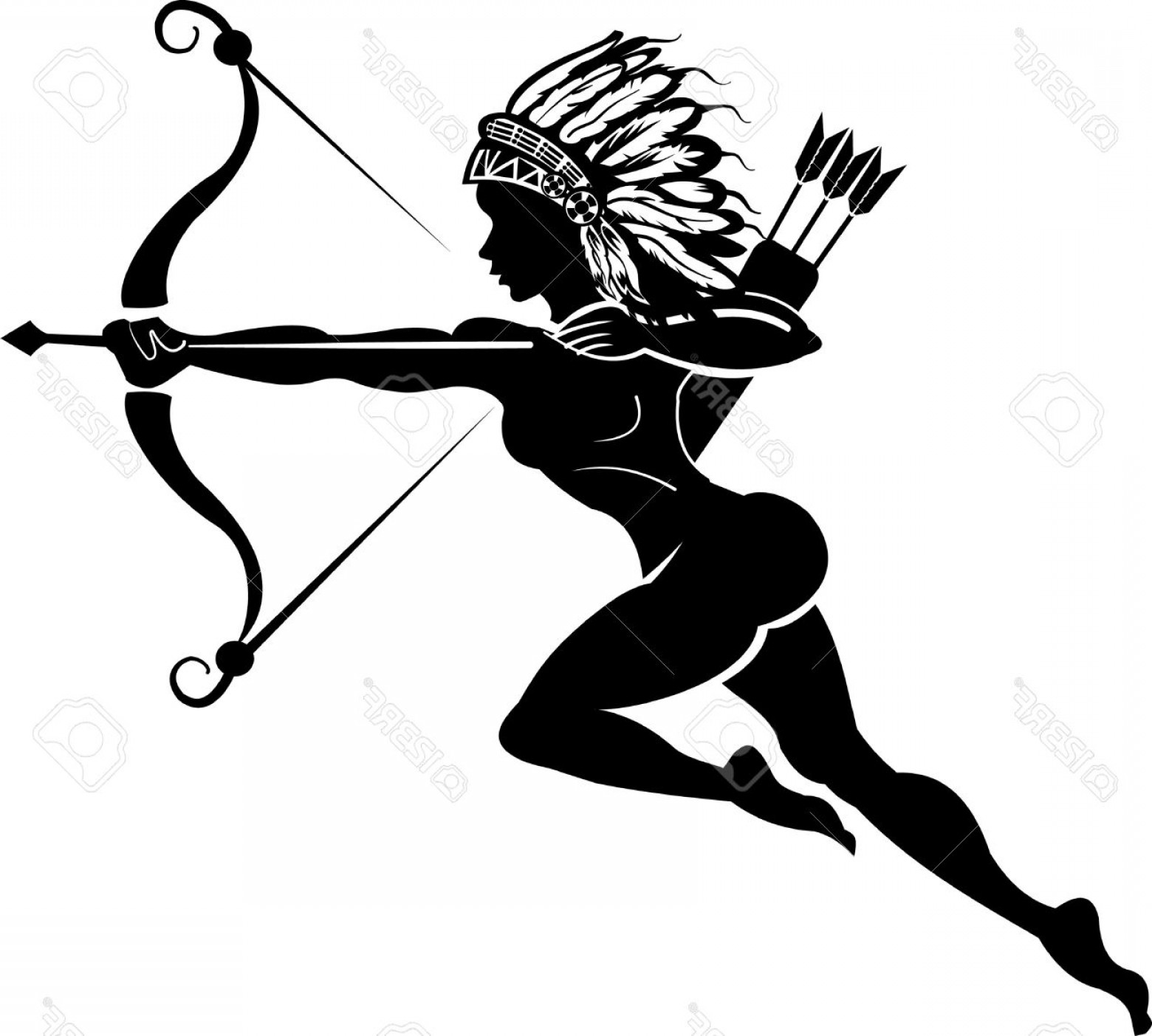 1560x1404 Photostock Vector Indian Woman Hunter Tattoo Bow And Arrow Arenawp