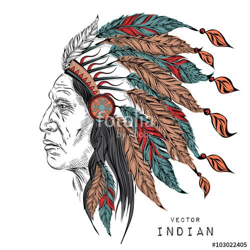 500x500 Man In The Native American Indian Chief. Black Roach. Indian