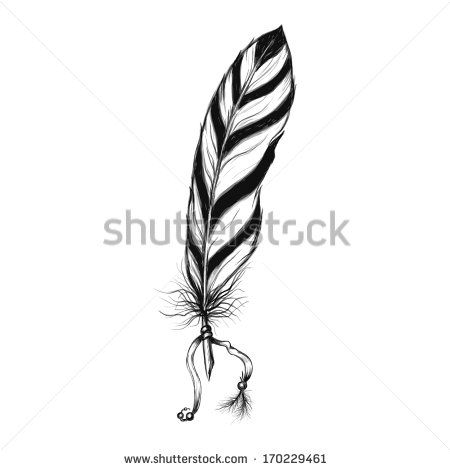 450x470 Hand Drawn Native American Ethnic Symbol Feather Stock Vector