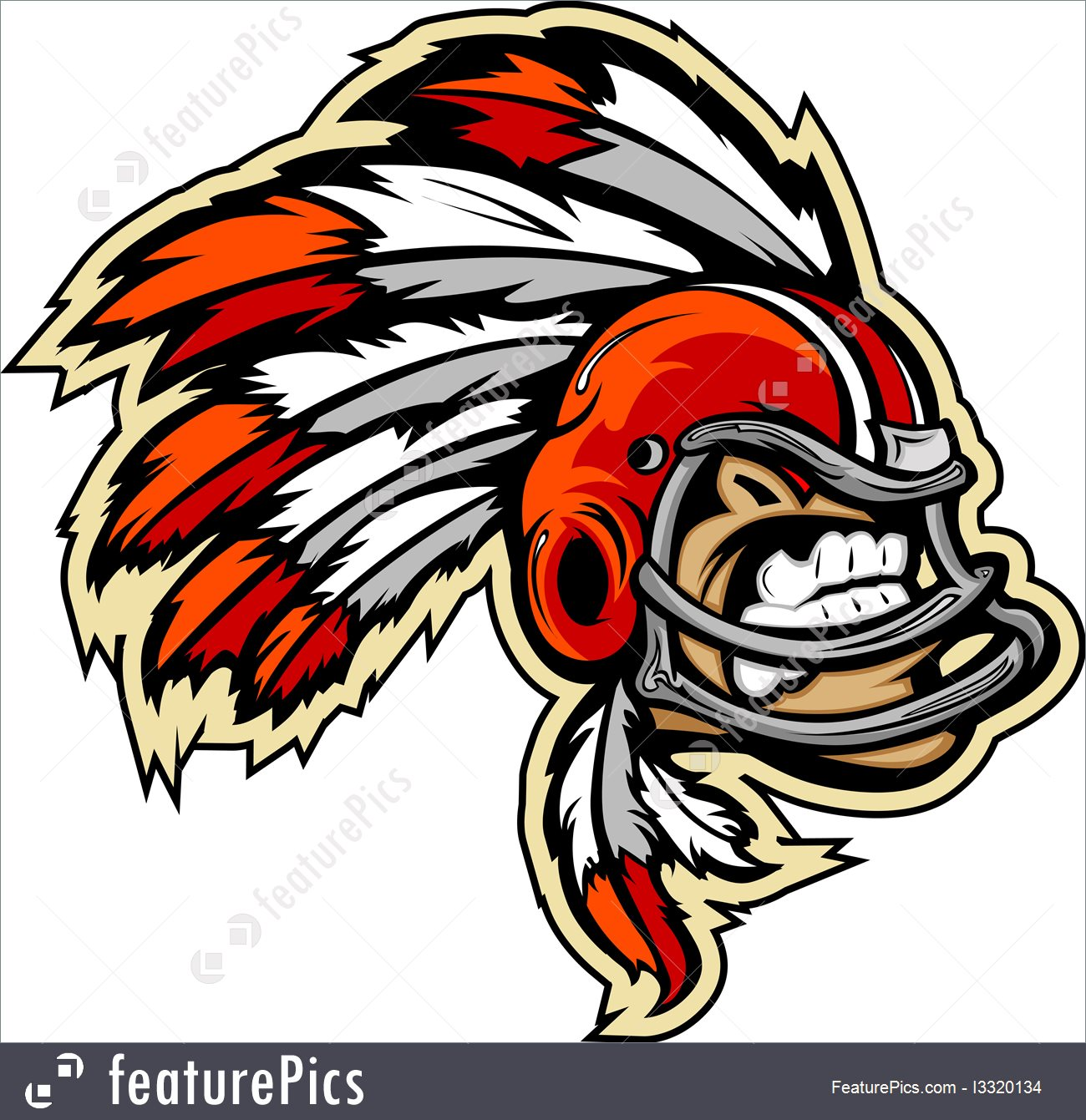 1300x1341 Indian Chief Football Mascot Wearing Helmet With Feathers Vector