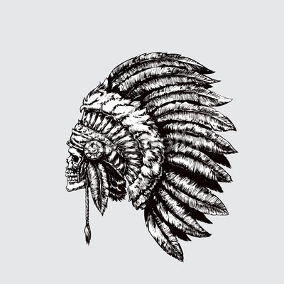 400x400 Indian Chief. Skull With Feathers. Vector Illustration, Eps 10