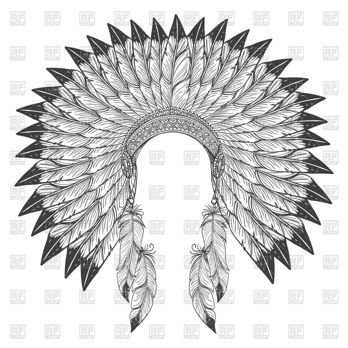 1200x1200 Native American Indian Headdress With Feathers Vector Image