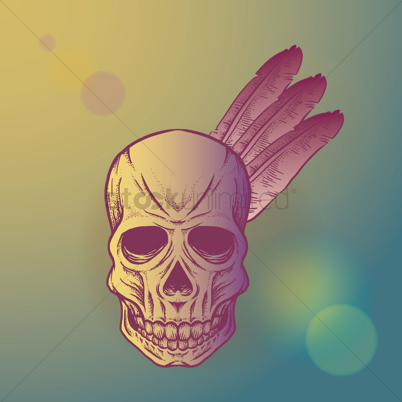 1300x1300 Skull With Native Indian Feathers Vector Image