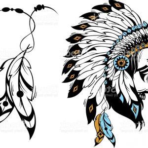 300x300 Stock Illustration Man Native American Indian Chief Black Roach