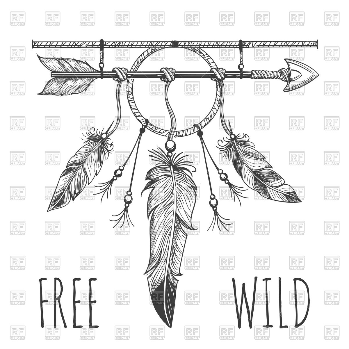1200x1200 Vintage Poster With Indian Arrows, Flower, Feathers Vector Image
