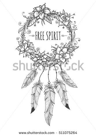 333x470 Boho Indian Decorative Wreath With Flowers, Beads And Feathers