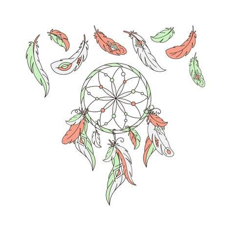 473x473 Dreamcatcher, Feathers. Vector Illustration. American Indian Dream