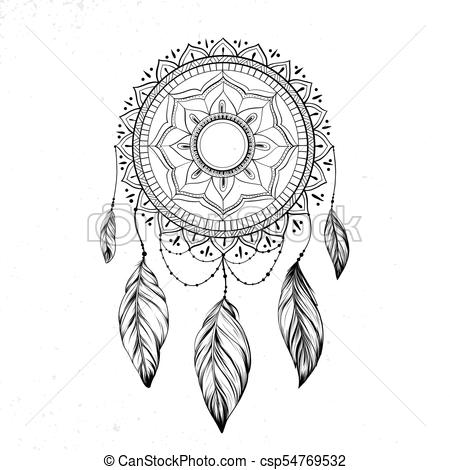 450x470 Dreamcatcher With Feathers And Branches. Sweet Dream. Native