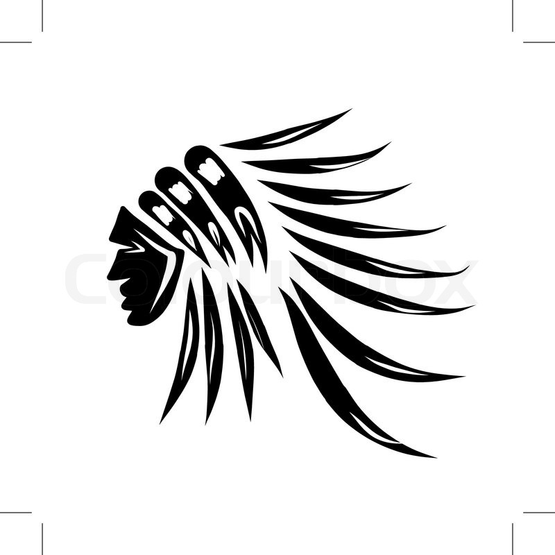 800x800 Head Of Indian Chief, Black Silhouette For Your Design. Vector