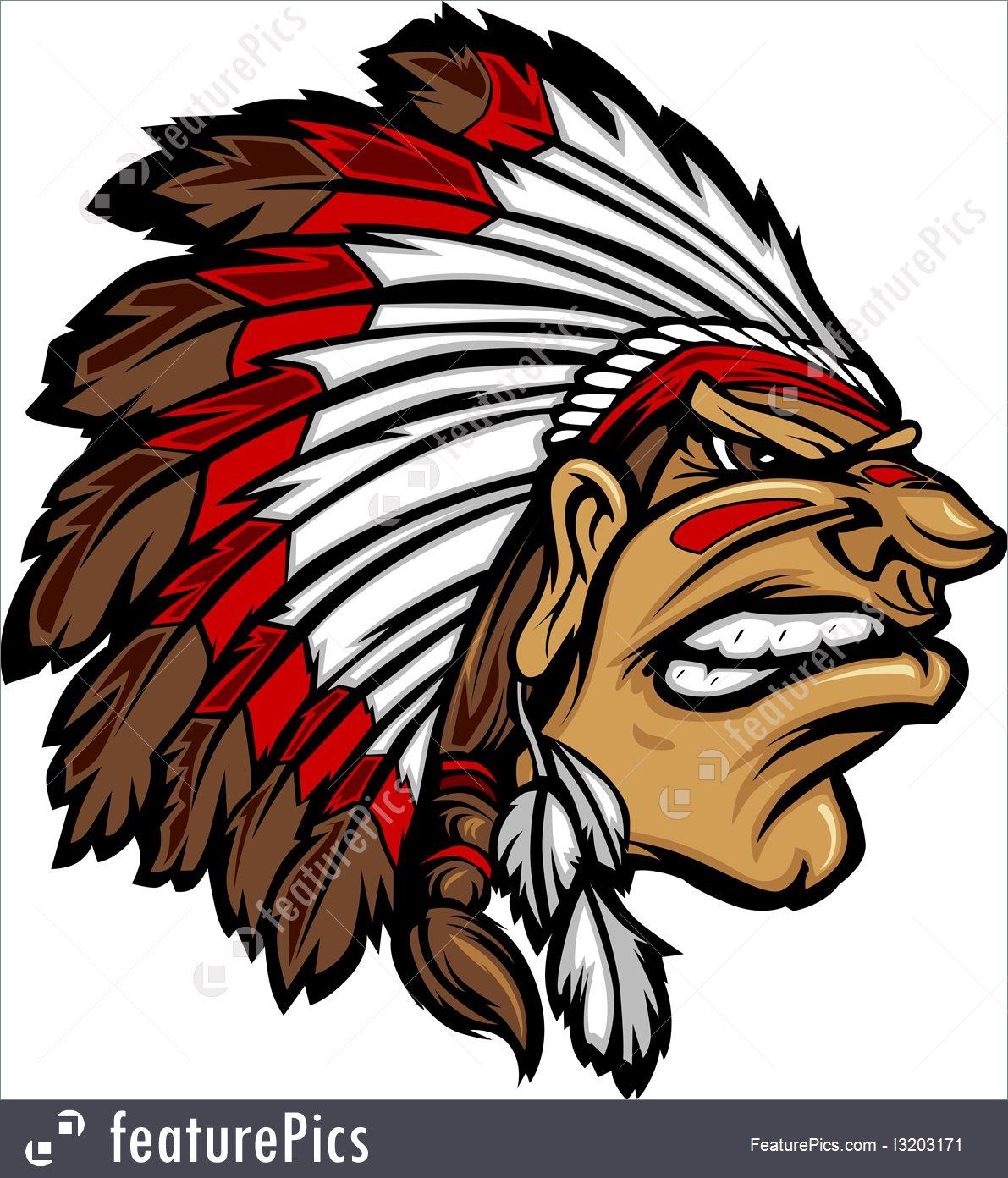 1191x1392 Indian Chief Mascot Head Cartoon Vector Graphic