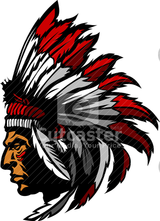 327x450 Indian Chief Mascot Head Graphic Stock Vector