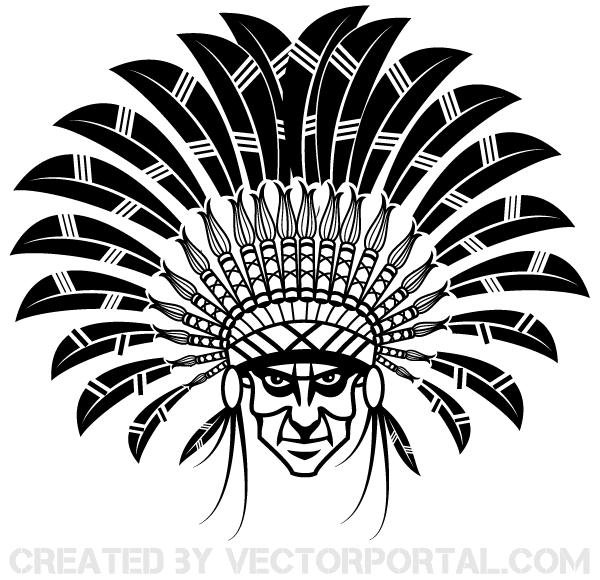 600x580 Indian Chief Wearing A Headdress Vector Art 123freevectors