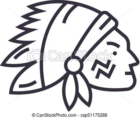 450x378 Indian Head Vector Line Icon, Sign, Illustration On Background