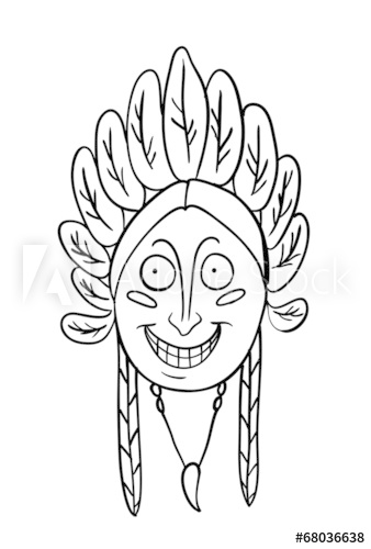 338x500 Native Indian Head, Vector Illustration