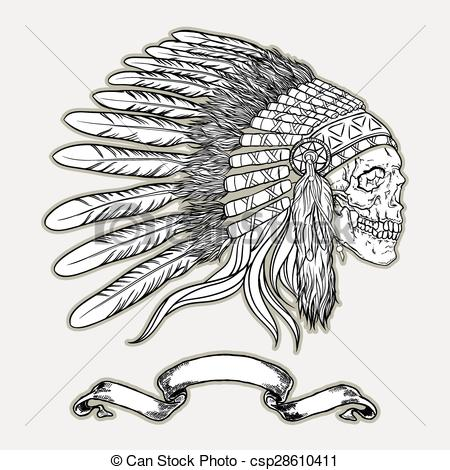 450x470 Native American Indian Chief Headdress. Indian Skull Vector