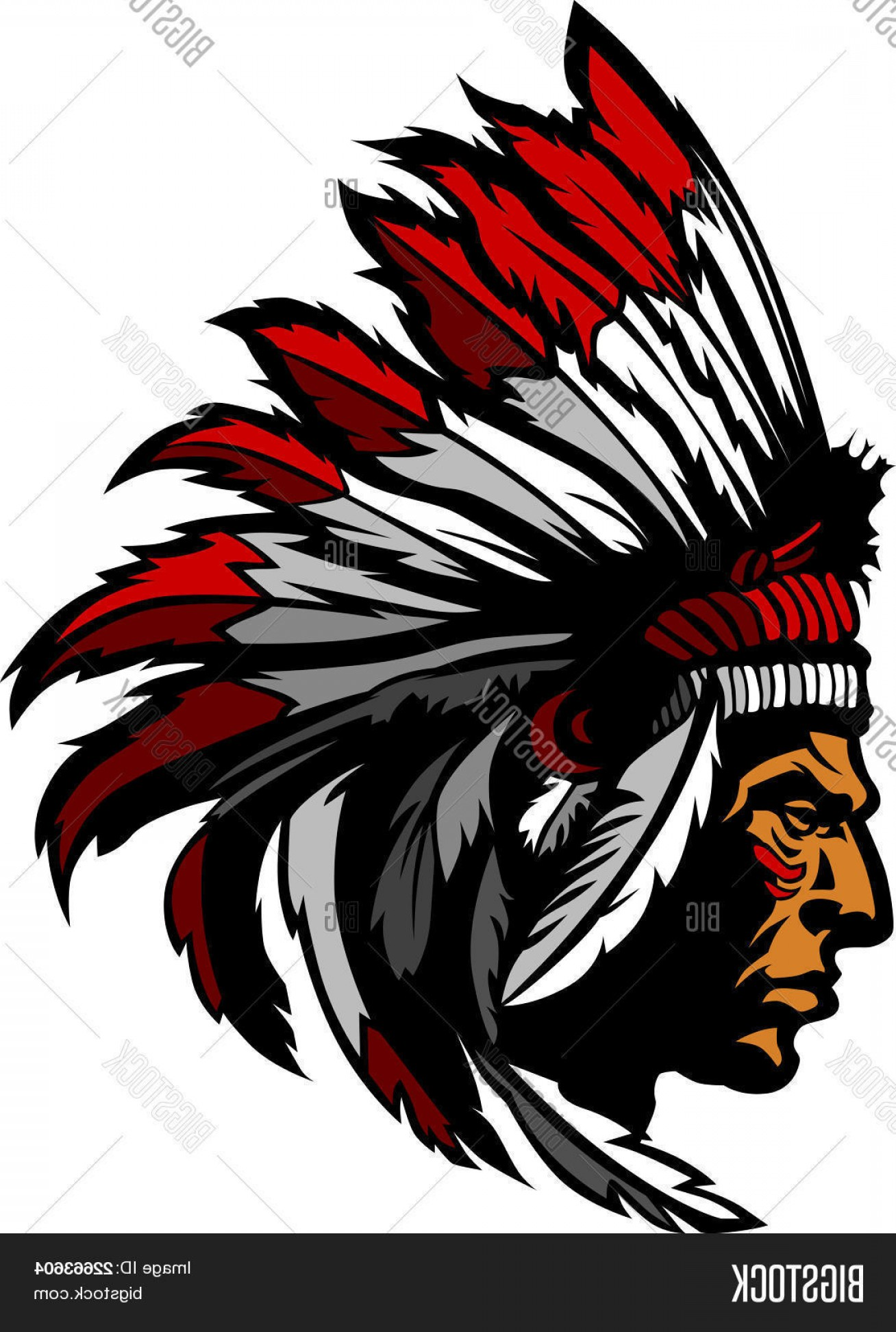 1308x1944 Stock Vector Indian Chief Mascot Head Graphic Shopatcloth