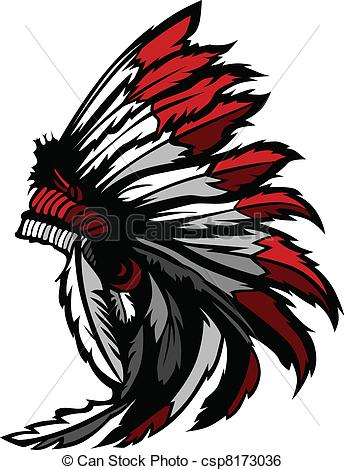 344x470 American Native Indian Feather Head. Graphic Native American