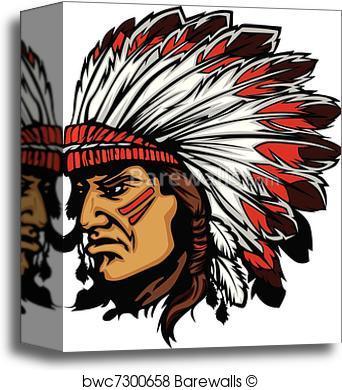 342x390 Canvas Print Of Indian Chief Mascot Head Vector Gra Barewalls