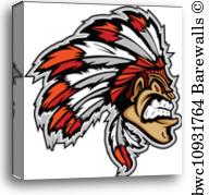 192x179 Canvas Print Of Indian Chief Mascot Head Vector Cartoon