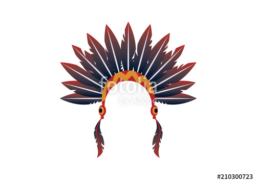 500x355 Indian Headband Vector. Symbols Of Indigenous People. Indian