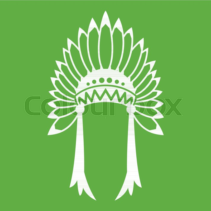 800x800 Indian Headdress Icon White Isolated On Green Background. Vector