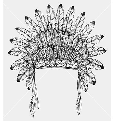 380x400 Native American Indian Headdress With Feathers In Vector
