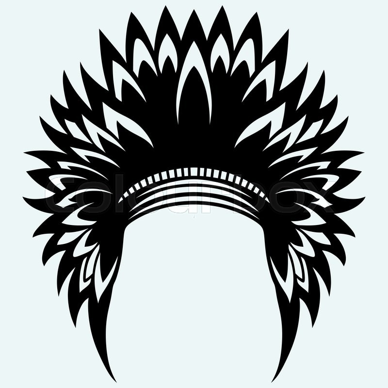 800x800 Native American Indian Headdress. Isolated On Blue Background