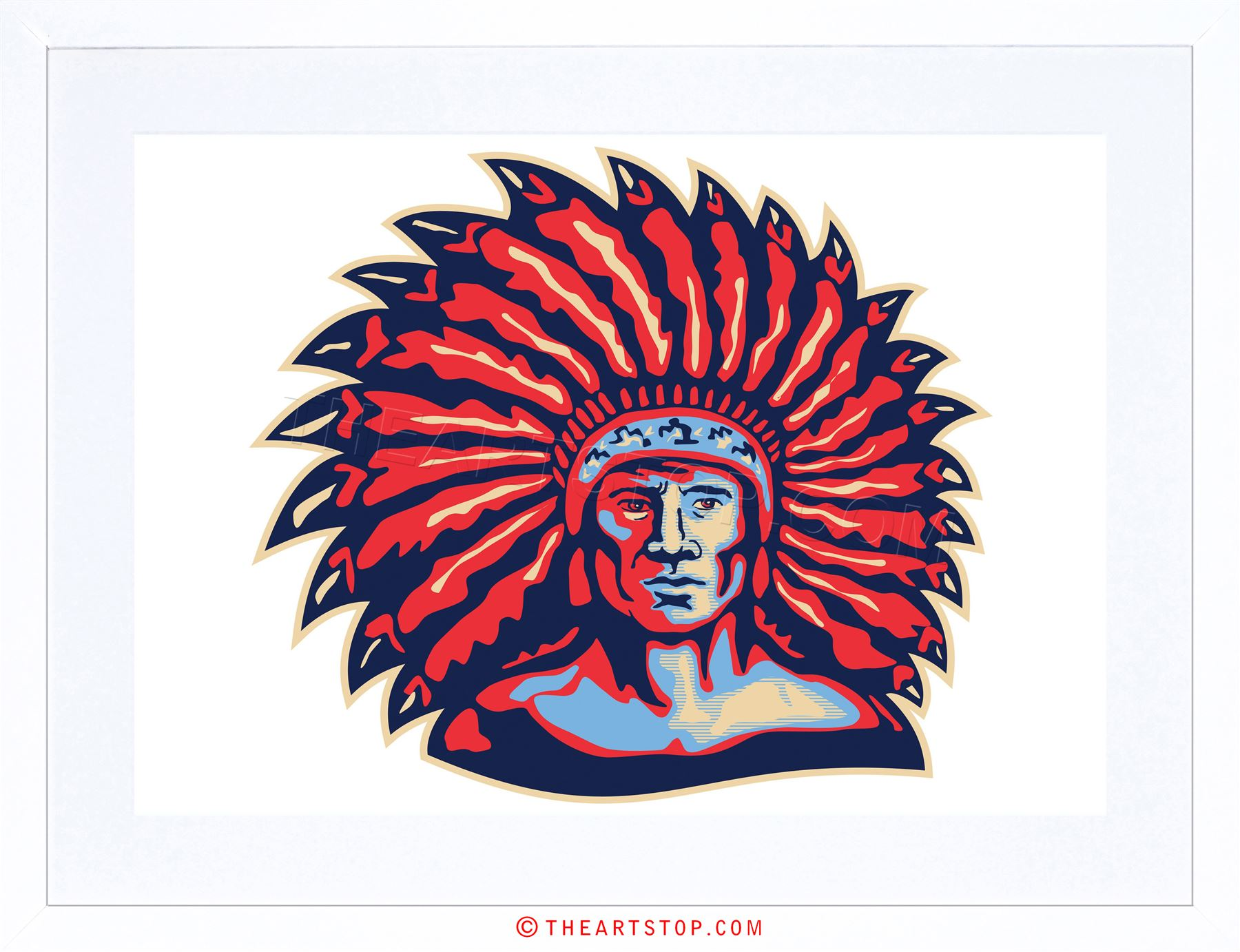 1800x1382 Painting Native American Indian Headdress Vector Framed Print