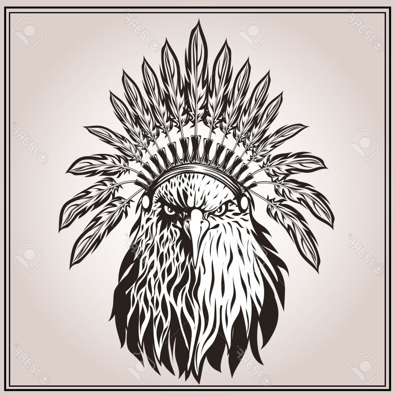 1560x1560 Photostock Vector American Eagle In Ethnic Indian Headdress With