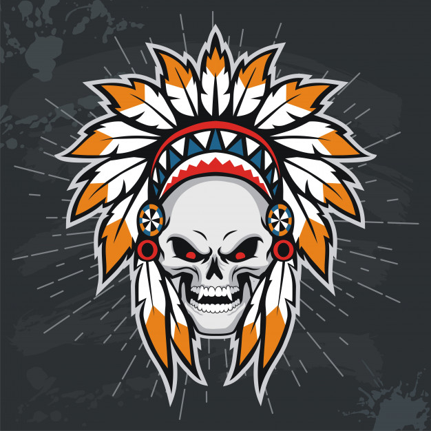 626x626 Skull With Native American Indian Headdress. Vector Premium Download