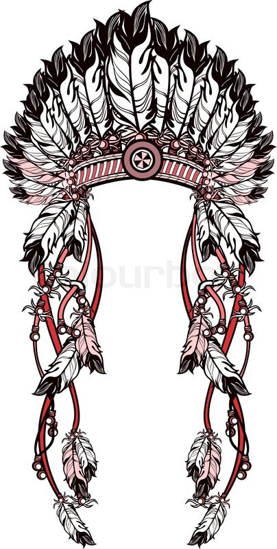 404x800 Vector Illustration American Indian Headdress With Feathers And