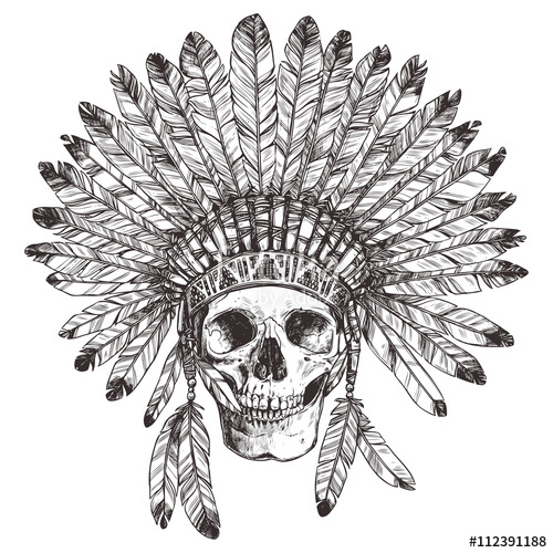 500x500 Hand Drawn Native American Indian Headdress With Human Skull