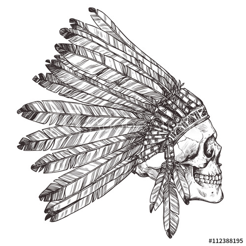 500x500 Hand Drawn Native American Indian Headdress With Human Skull In