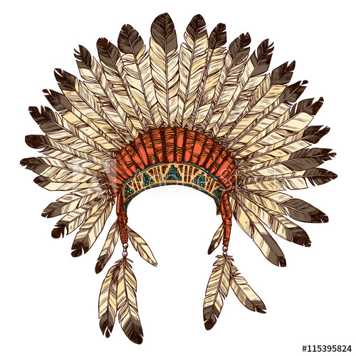 500x500 Hand Drawn Native American Indian Headdress. Vector Color