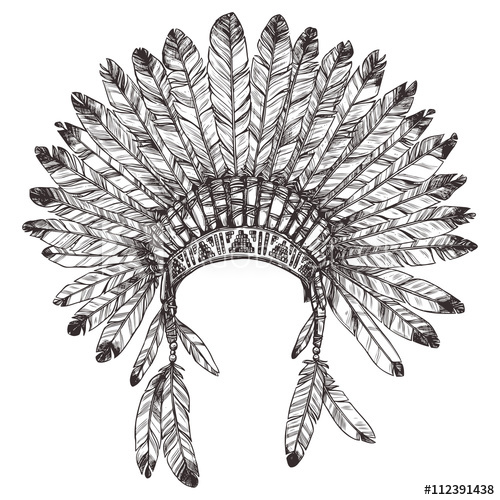 500x500 Hand Drawn Native American Indian Headdress. Vector Monochrome