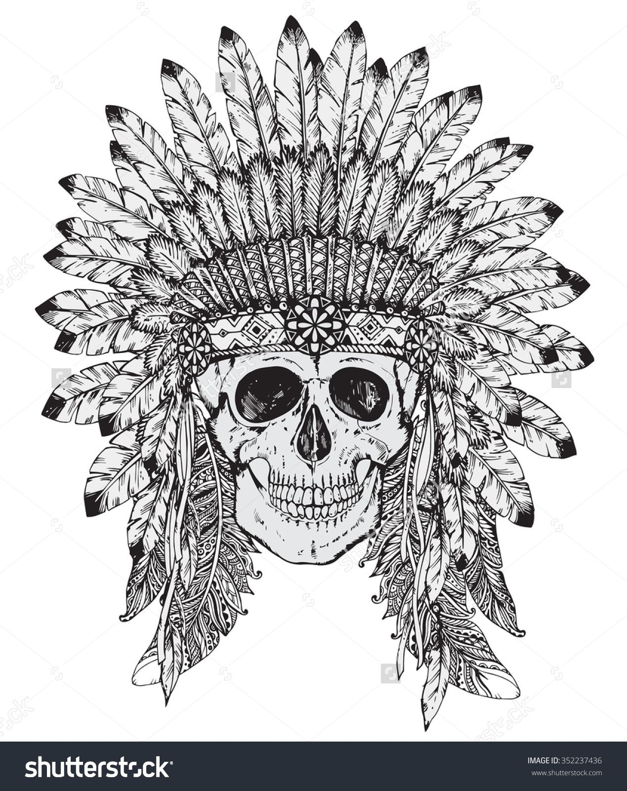 1269x1600 Hand Drawn Vector Illustration Of Native American Indian Headdress