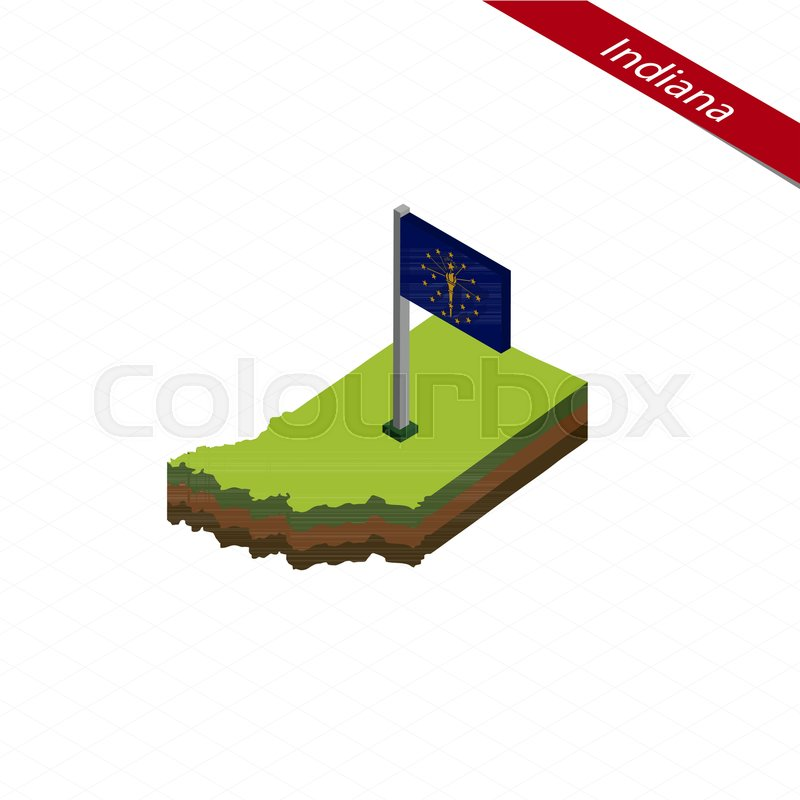 800x800 Isometric Map And Flag Of Indiana. 3d Isometric Shape Of Indiana